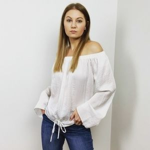 Theory White Off the Shoulder Top
